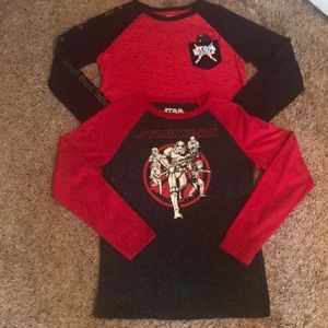 Two Boy's Star Wars Long Sleeve Tees- Large(10-12)